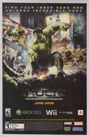 INCREDIBLE HULK video game PRINT AD advertisement 2008