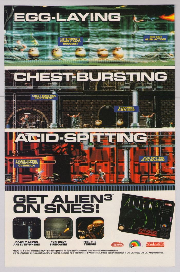 ALIEN 3 video game '90s PRINT AD aliens movie Super NES advertisement 1993