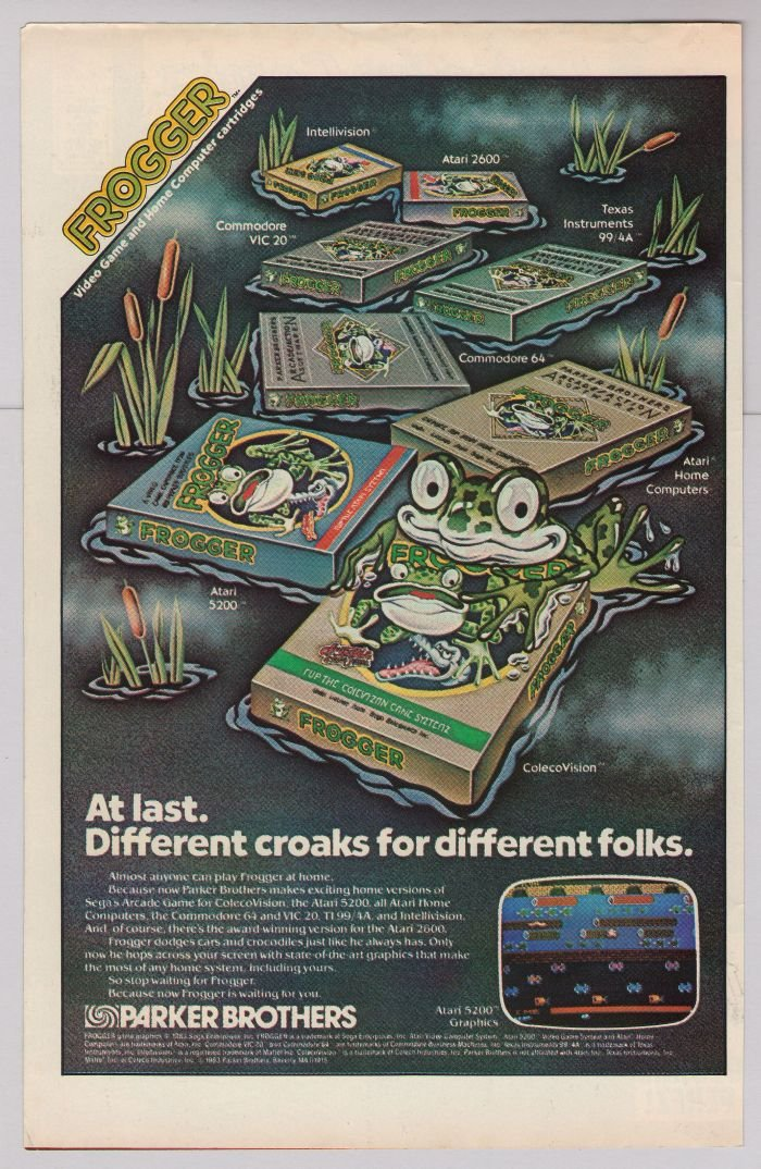 FROGGER video game '80s PRINT AD Parker Brothers arcade advertisement vintage 1983