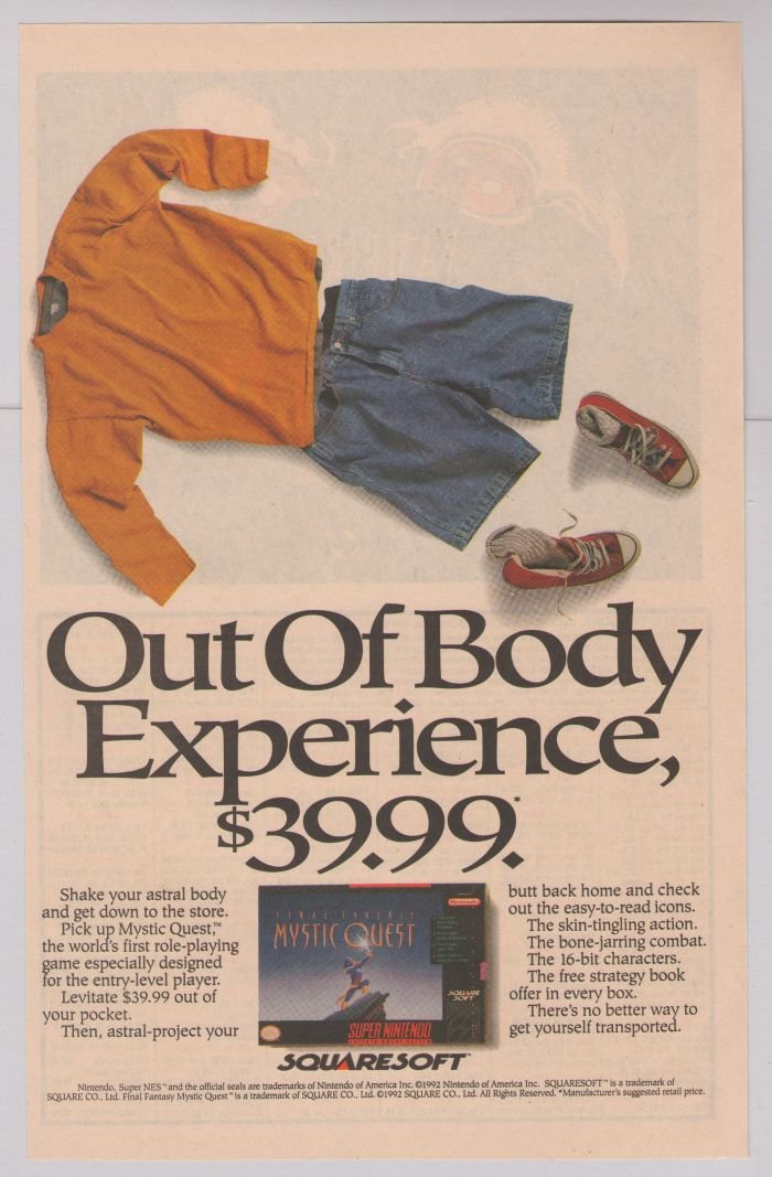 MYSTIC QUEST video game '90s PRINT AD - Out of Body Experience - advertisement 1992