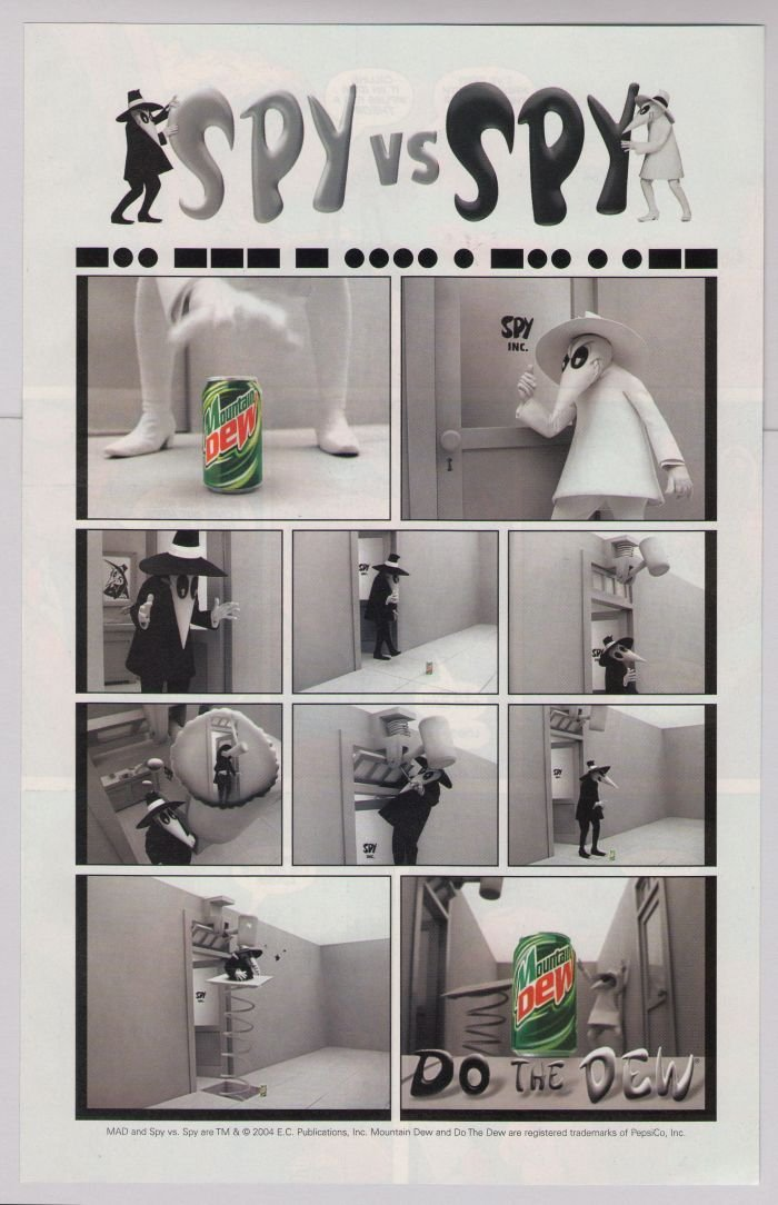 SPY VS SPY Mountain Dew PRINT AD soft drink advertisement MAD Magazine 2004