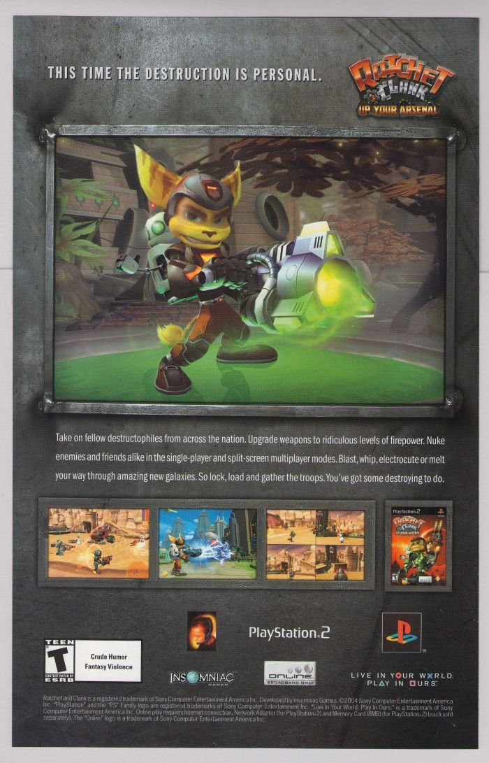 RATCHET AND CLANK Up Your Arsenal PRINT AD video game advertisement 2004
