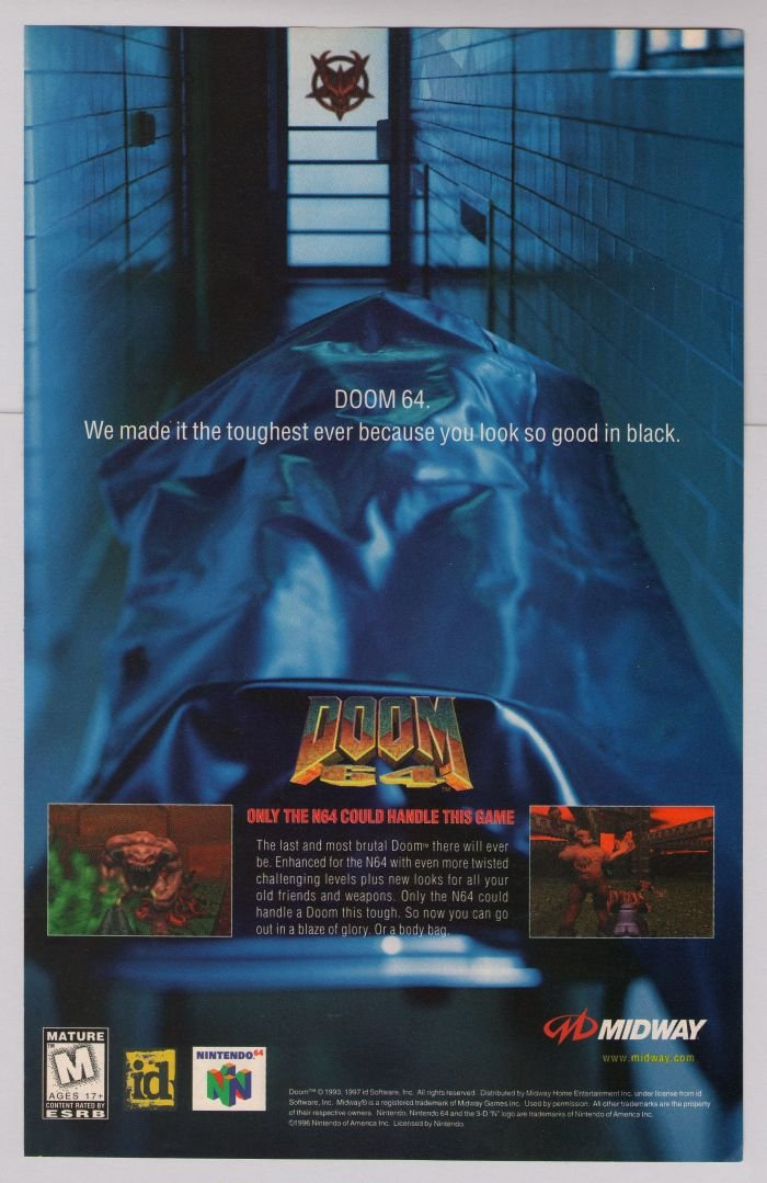 DOOM 64 video game '90s PRINT AD id Software Nintendo 64 advertisement 1997