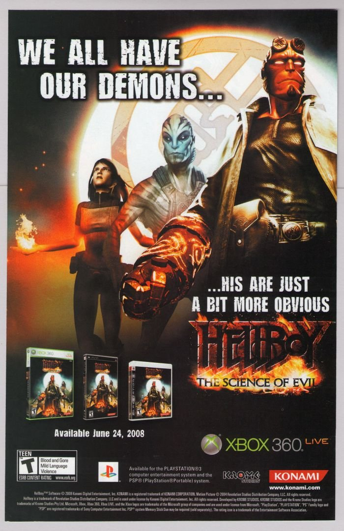 HELLBOY The Science of Evil PRINT AD video game advertisement 2008