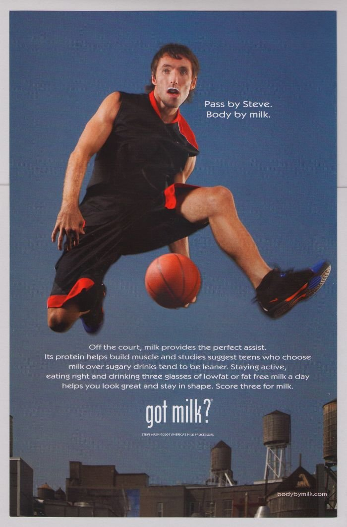 STEVE NASH got milk PRINT AD basketball NBA Phoenix Suns advertisement 2007
