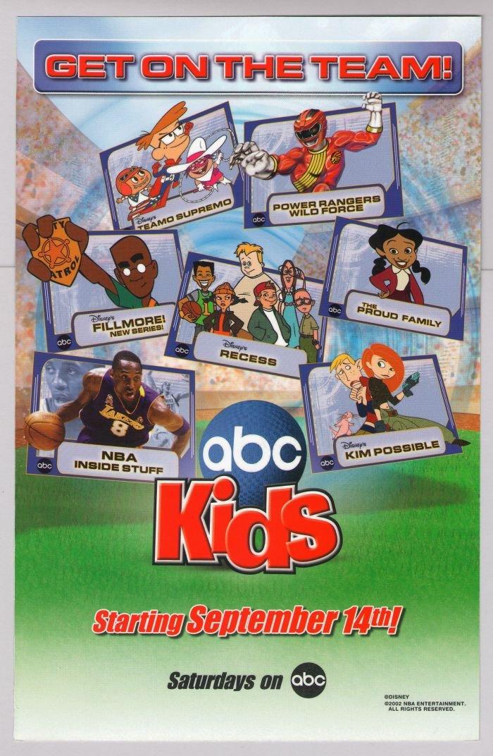 ABC Kids TV Power Rangers, Kim Possible, Recess, Teamo Supremo cartoon print ad 2002