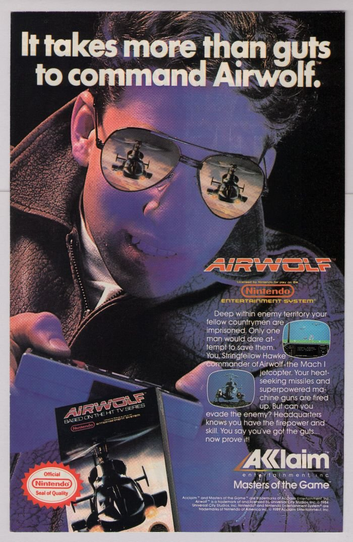 AIRWOLF video game '80s PRINT AD tv show Acclaim advertisement 1989