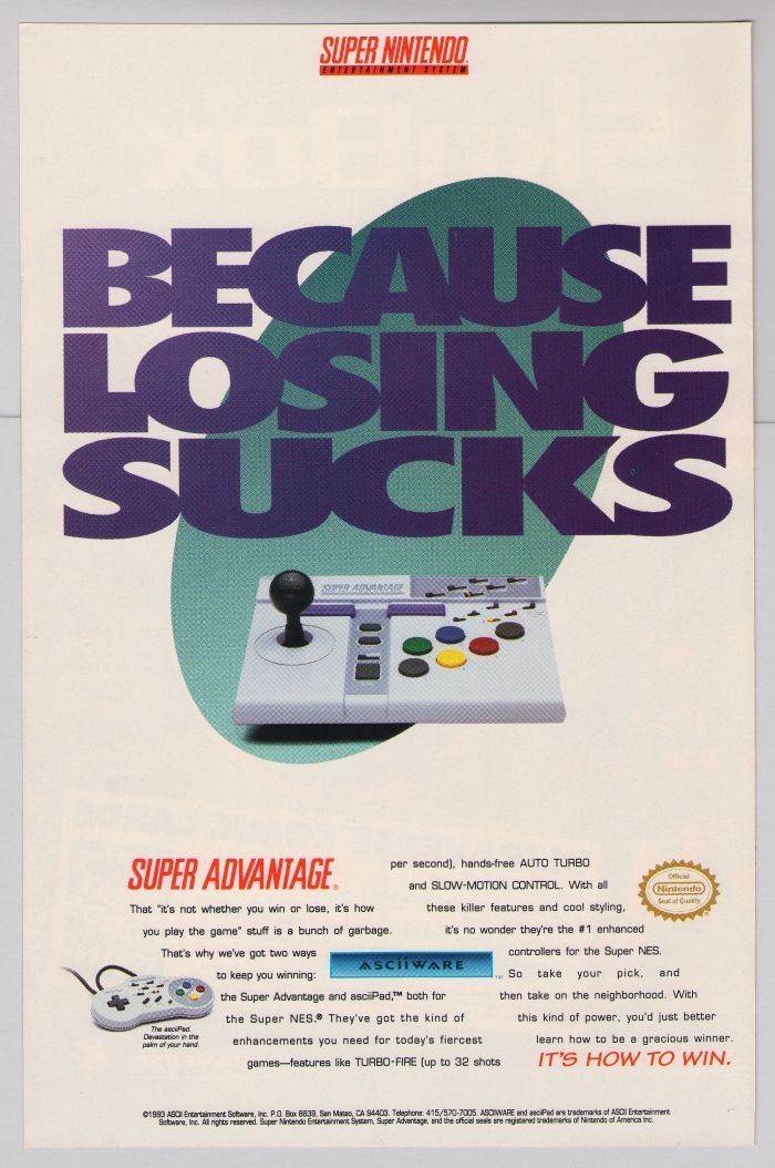 SUPER ADVANTAGE asciiPad '90s PRINT AD Nintendo video game controller advertisement 1993