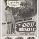The Ghost Breakers '40s PRINT AD Bob Hope PAULETTE GODDARD movie vintage advertisement 1940