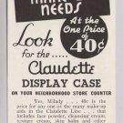 Claudette Cosmetics '40s PRINT AD make-up vintage advertisement 1940