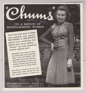 CHUMS mix-match sports suits 40s PRINT AD fashion clothing vintage