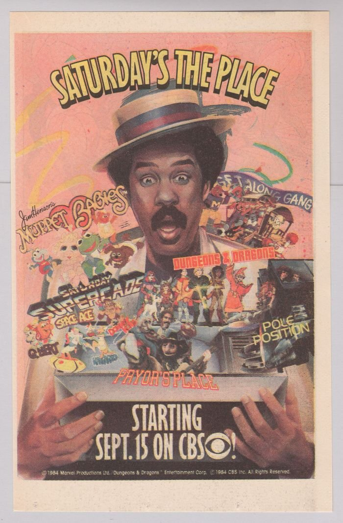 CBS Saturday TV '80s print ad MUPPET BABIES Donkey Kong RICHARD PRYOR'S PLACE advertisement 1984