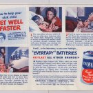 Eveready batteries '40s PRINT AD - sick child, Get Well Faster - vintage battery advertisement 1948