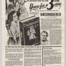 Doubleday Book Club '40s PRINT AD 'Unconquered' woman tied up bondage vintage ad 1948