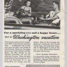 Milwaukee Road '40s PRINT AD sailing fishing Washington train travel vintage advertisement 1948
