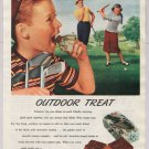 Milky Way candy bar '40s old PRINT AD golfers golf boy caddy vintage advertisement 1948