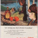 Calvert Reserve whiskey '40s old PRINT AD bears raid camp vintage advertisement 1948