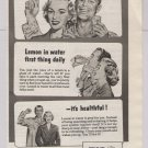 Sunkist lemons '40s old PRINT AD couple in pajamas - laxative problem - vintage ad 1948