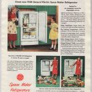 General Electric refrigerator '40s old PRINT AD Space Maker mom daughter GE G-E vintage ad 1948