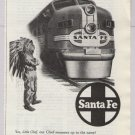Santa Fe Chief '40s PRINT AD passenger train - boy in indian costume - vintage ad 1948