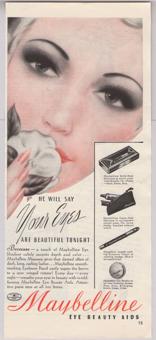 Maybelline Eye Shadow '40s old PRINT AD makeup glamour ...