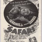 SAFARI movie '40s old PRINT AD Douglas Fairbanks Jr, Madeleine Carroll jungle art vintage ad 1940