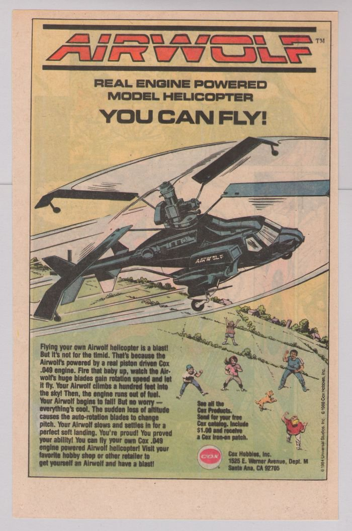 AIRWOLF model helicopter toy '80s PRINT AD based on TV show advertisement 1989