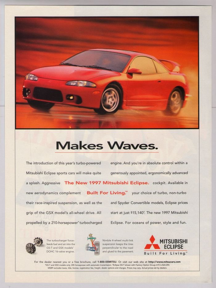 1997 Mitsubishi Eclipse '90s PRINT AD red sports car automobile