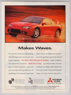 1997 Mitsubishi Eclipse '90s PRINT AD red sports car automobile