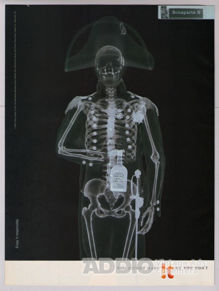 Chivas Regal whiskey '90s PRINT AD x-ray Napoleon Bonaparte advertisement 1998