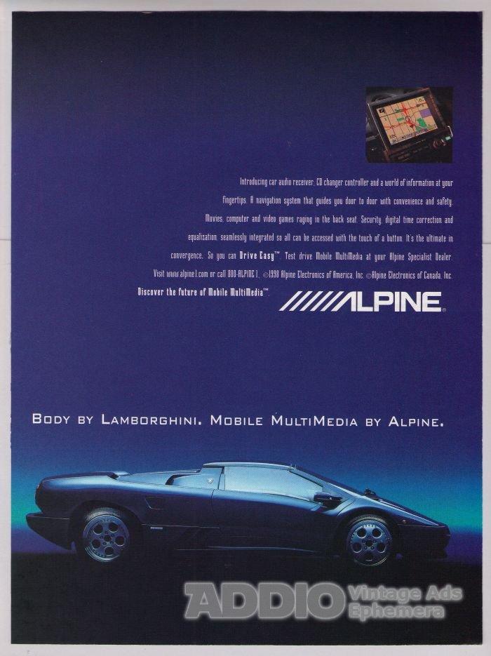 Lamborghini Alpine Electronics '90s sports car PRINT AD advertisement 1998