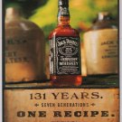 Jack Daniel's whiskey '90s PRINT AD - 131 years, one recipe - alcohol advert Jack Daniels 1998