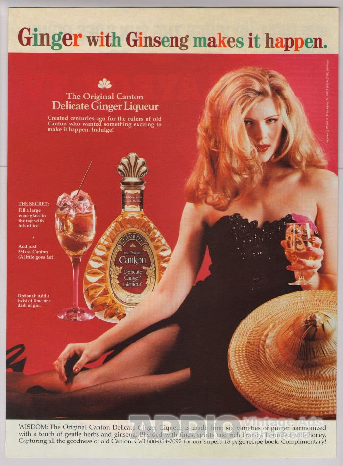 Canton Ginger Liqueur '90s PRINT AD ginseng retro-style advertisement 1993