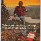 Winston cigarettes '70s PRINT AD lumberjack smoking vintage advertisement 1979