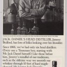 Jack Daniel's whiskey '90s PRINT AD head distiller alcohol advertisement narrow version Daniels 1997