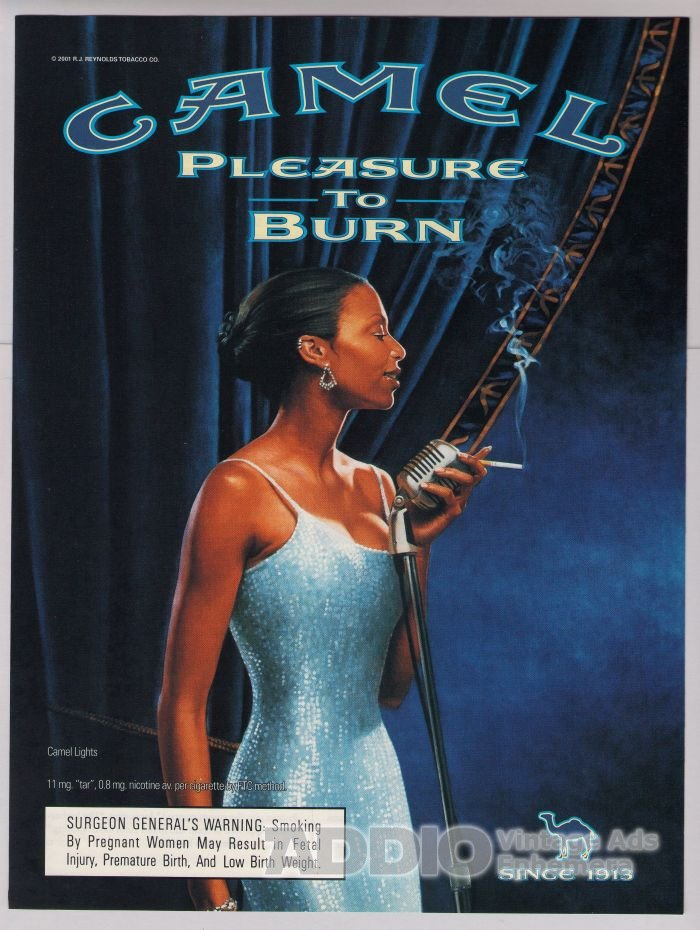 Camel cigarettes PRINT AD sexy black woman lounge singer smoking advertisement 2001