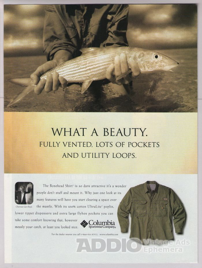 Columbia Sportswear '90s PRINT AD Bonehead Shirt fisherman advertisement 1998