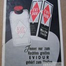 Evidur '50s German PRINT AD laundry clothing cleaner vintage advertisement 1957