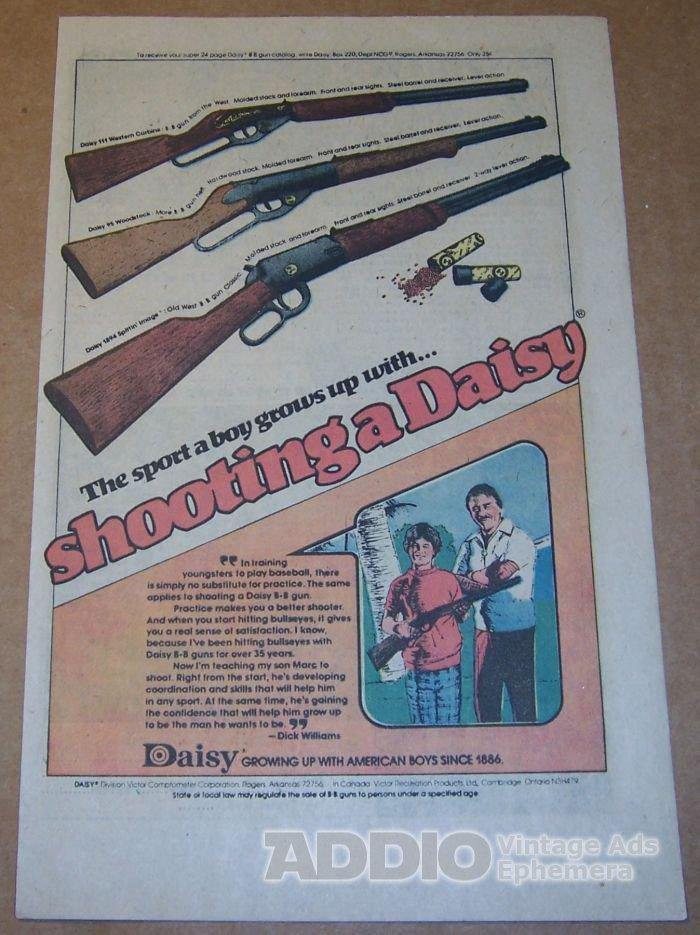 Daisy BB Gun '70s PRINT AD Dick Williams vintage advertisement 1976
