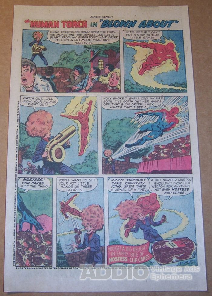 Hostess Cup Cakes '80s PRINT AD Human Torch Blown About vintage comic book advertisement 1980