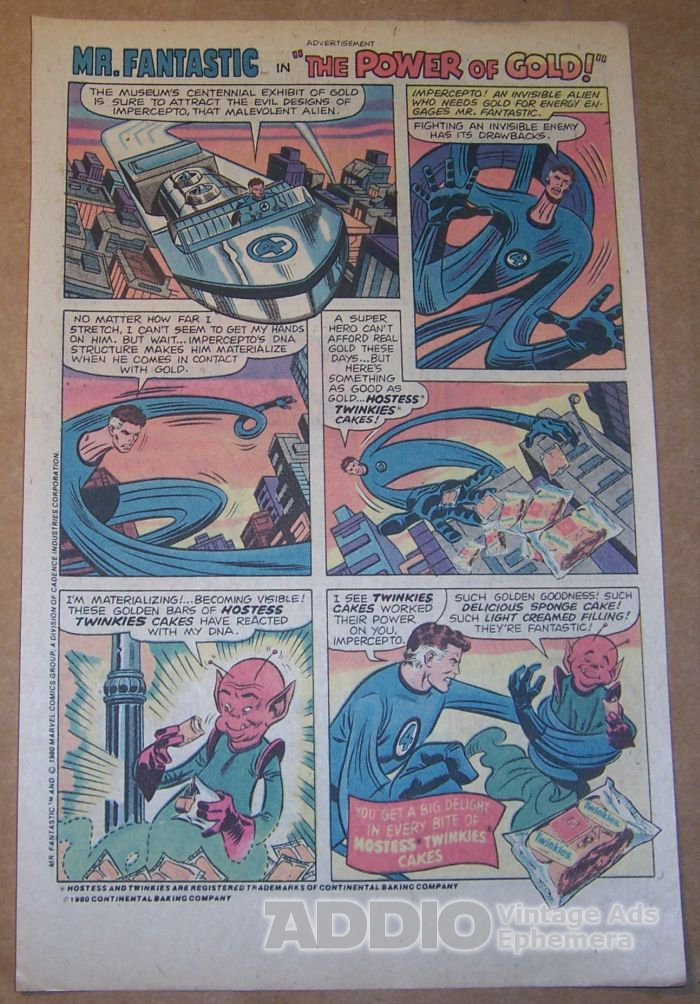 Hostess Twinkies '80s PRINT AD Mr. Fantastic vintage comic book advertisement 1980