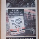 Veedol Motor Oil '40s PRINT AD vintage advertisement illustrated 1940