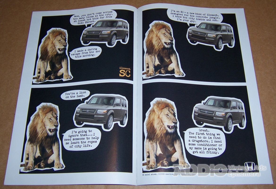 Honda Element SC 2-page PRINT AD auto car lion automotive advertisement 2006