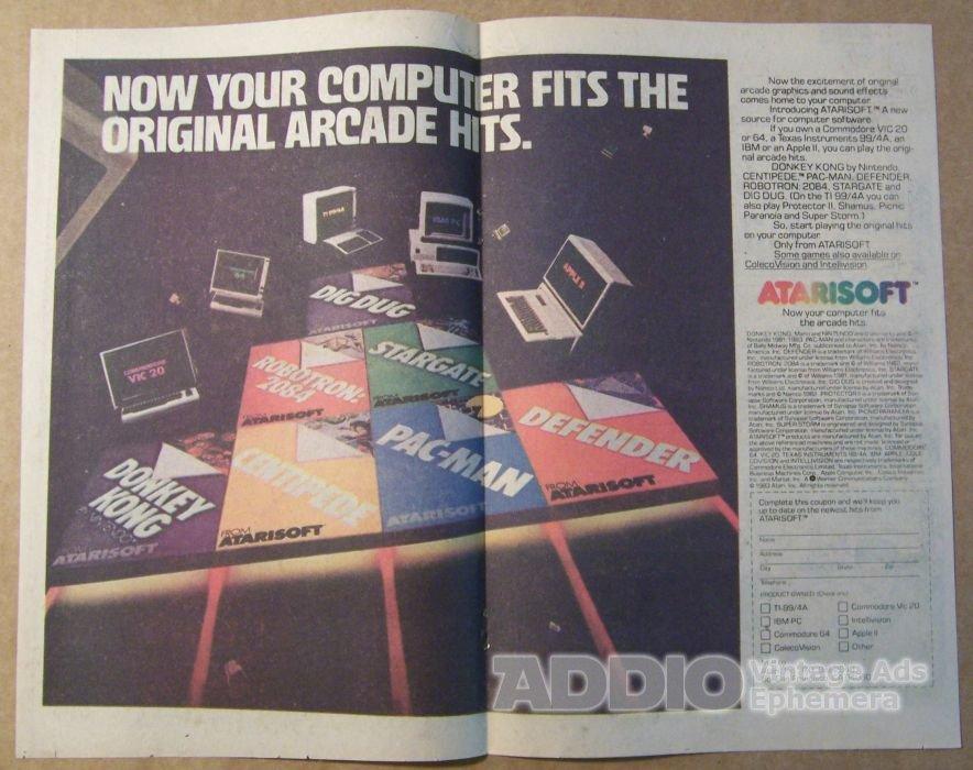 Atarisoft '80s Atari computer video game PRINT AD Pac-Man Donkey Kong vintage advertisement 1983