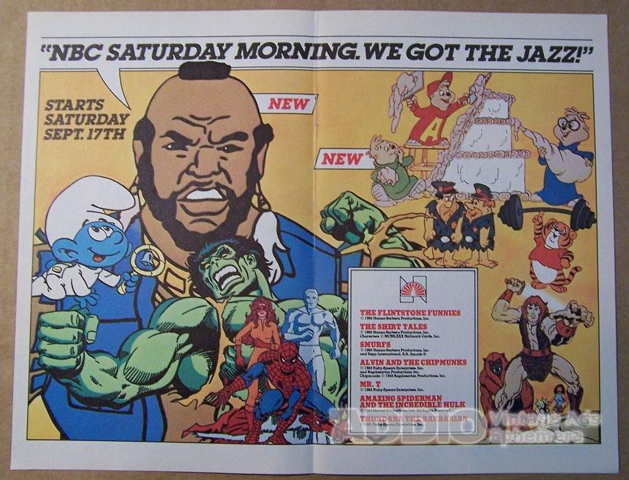 nbc saturday morning cartoons 80s print ad thundarr mr t smurfs