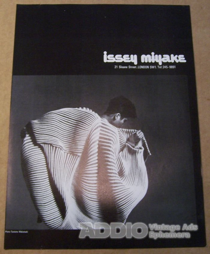 issey miyake 39 80s print ad fashion designer london store british advertisement 1982. Black Bedroom Furniture Sets. Home Design Ideas