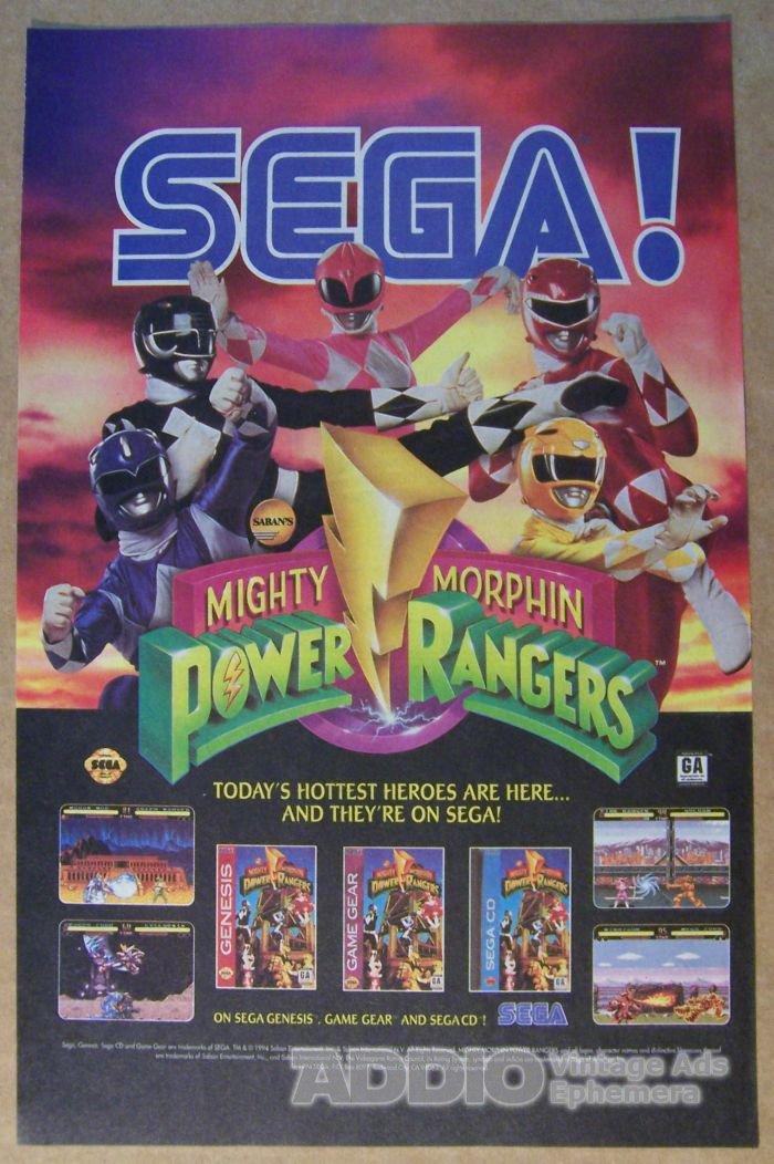 Mighty Morphin Power Rangers '90s PRINT AD Sega video game advertisement 1994