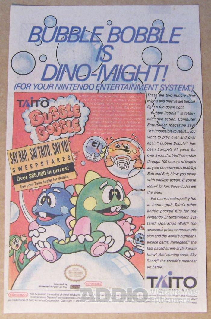 Bubble Bobble '80s video game PRINT AD Taito advertisement 1989