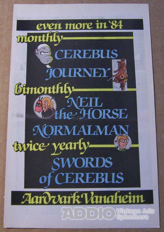 Aardvark-Vanaheim '80s Cerebus Normalman comic book advertisement print ad 1984