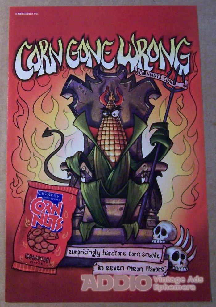 Corn Nuts PRINT AD Corn Gone Wrong snacks Nabisco throne advertisement 2000